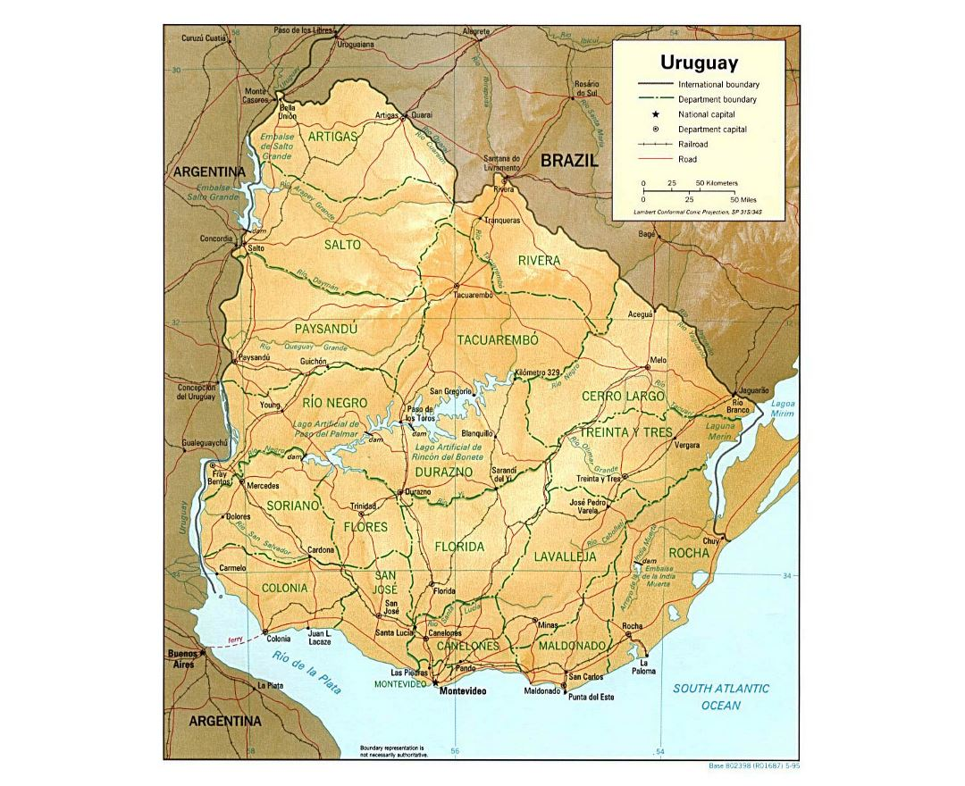 Large political and administrative map of Uruguay with relief, roads and cities - 1995