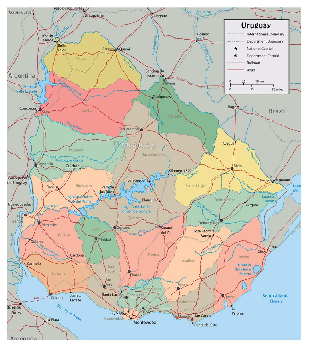 Large political and administrative map of Uruguay with roads and cities
