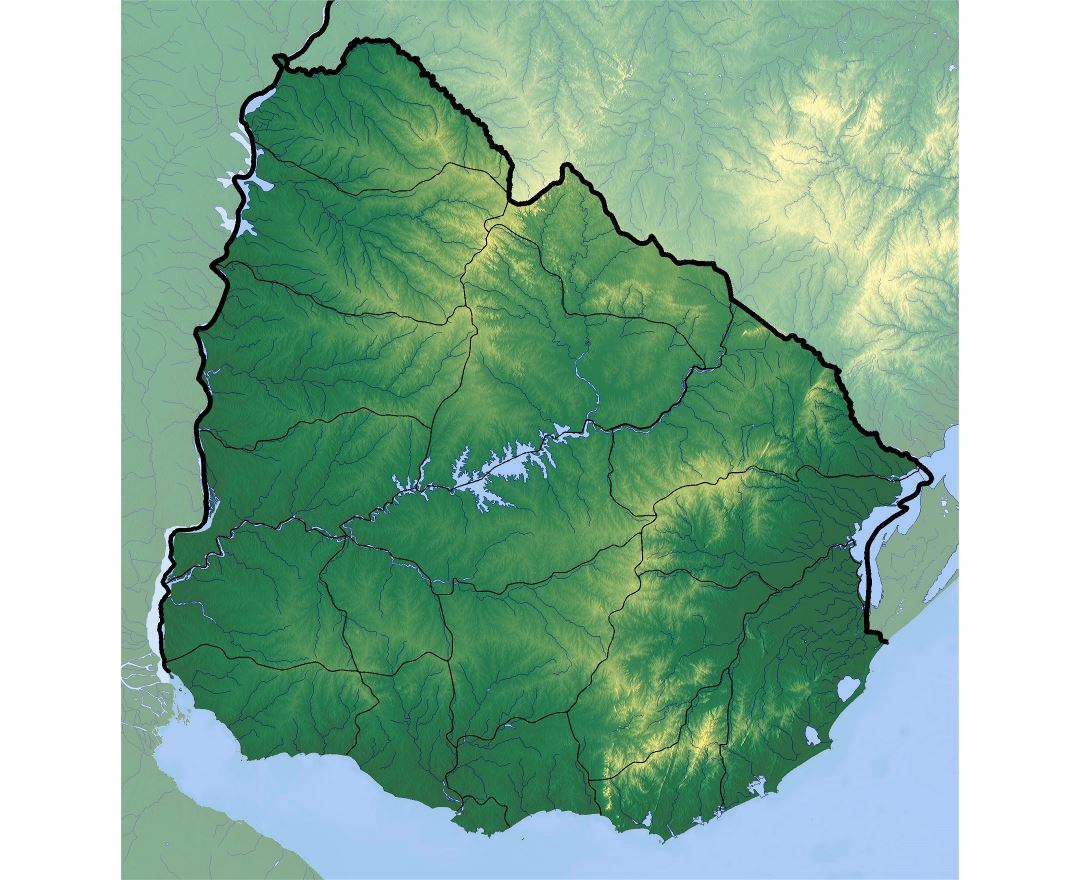 Large relief map of Uruguay