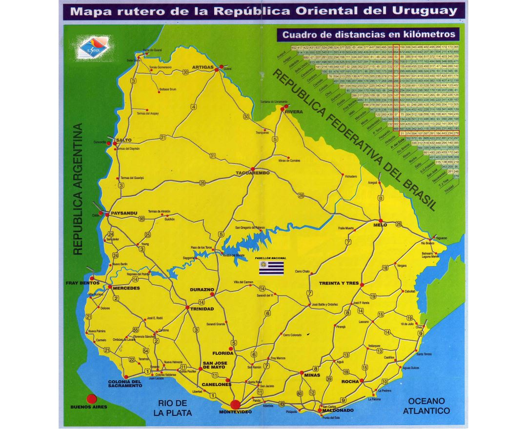 Large scale road map of Uruguay