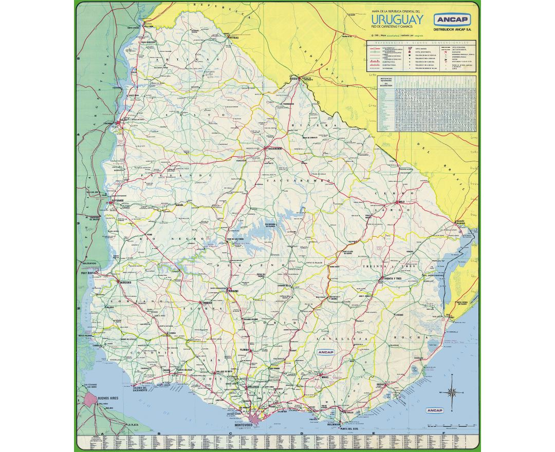 Large scale road map of Uruguay with all cities