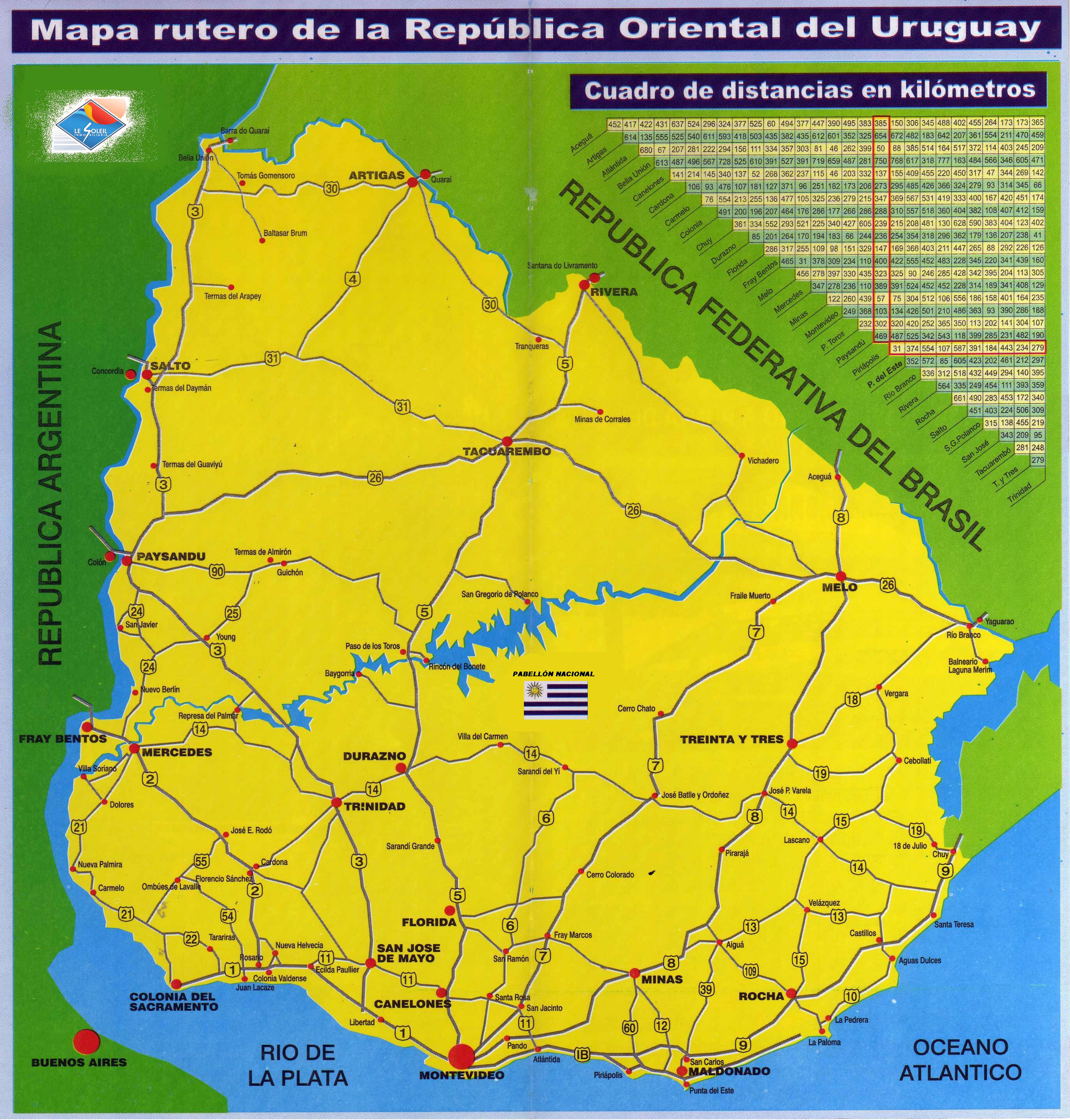 Large scale road map of Uruguay | Uruguay | South America | Mapsland ...