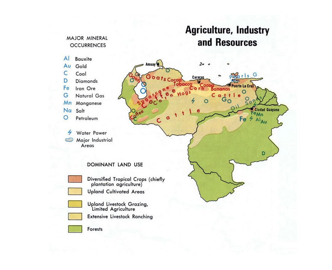 Maps of venezuela detailed map of venezuela in english tourist detailed map of agriculture industry and resources of venezuela sciox Images