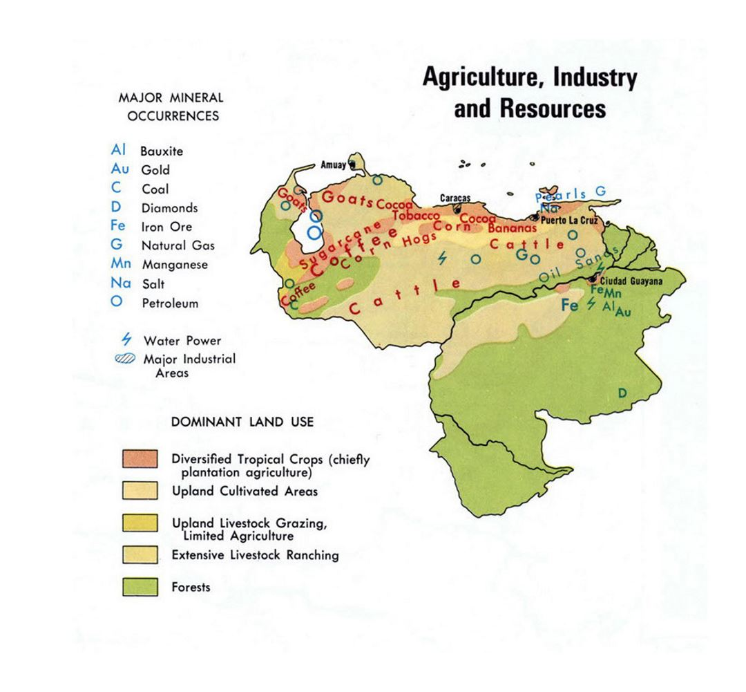 Detailed map of Agriculture Industry and Resources of Venezuela