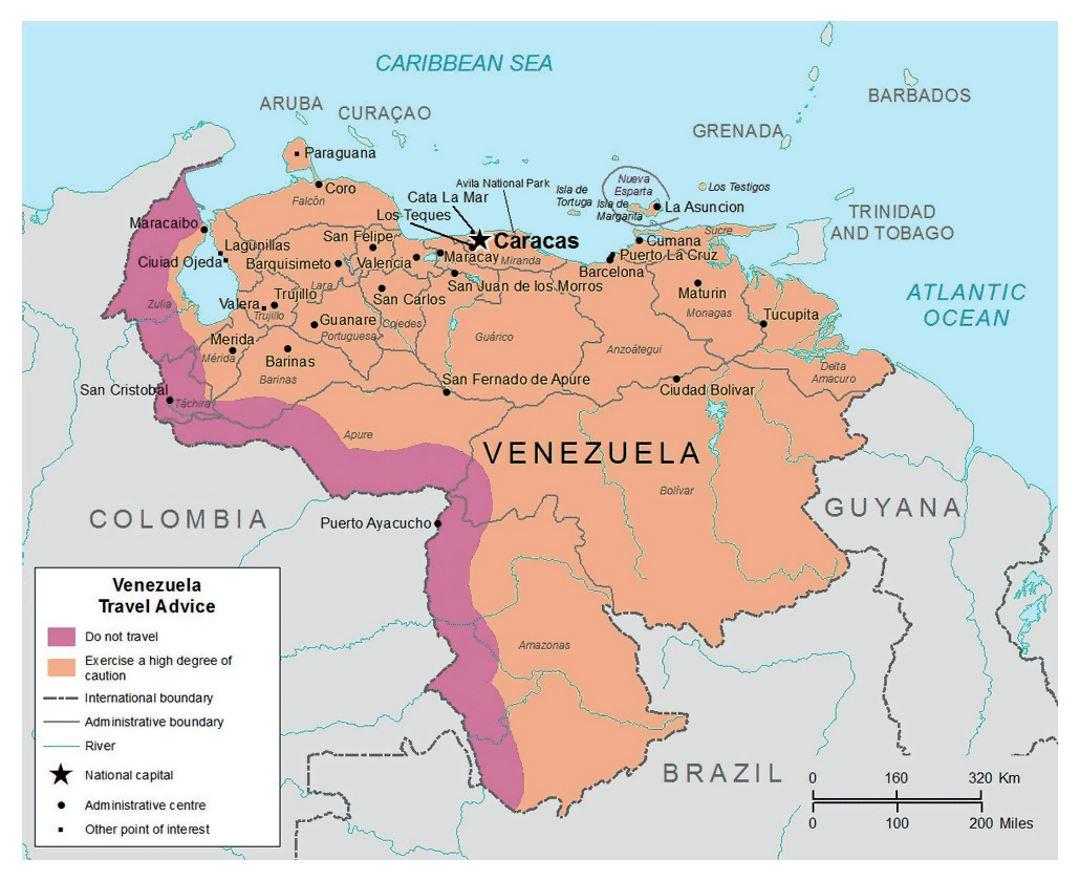 Detailed Map Of Venezuela Venezuela South America Mapsland - Map of venezuela south america