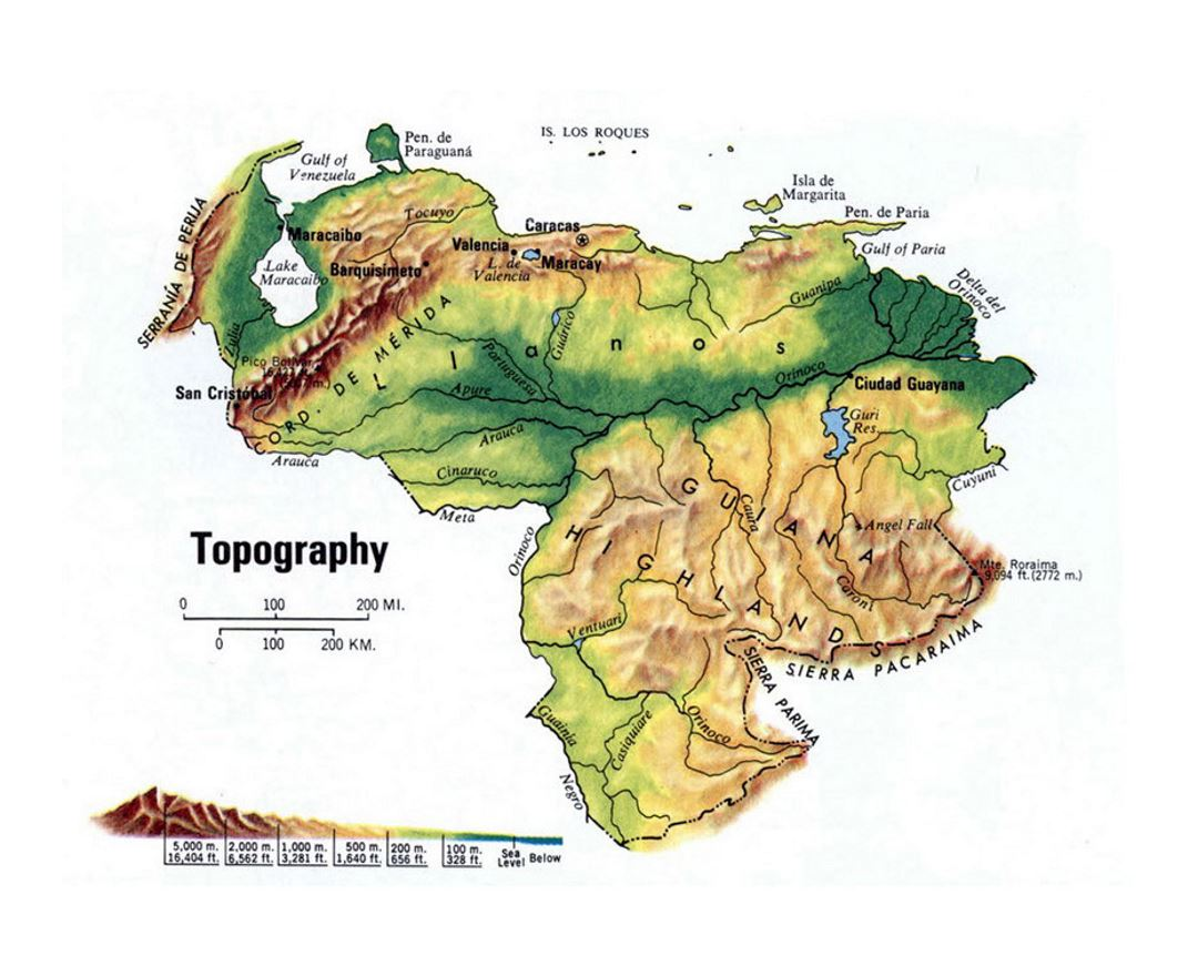 Maps of venezuela detailed map of venezuela in english tourist detailed topography map of venezuela sciox Images