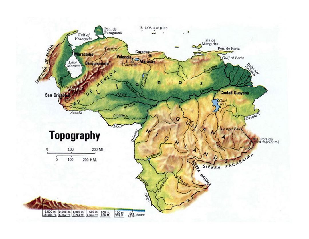 Detailed topography map of Venezuela