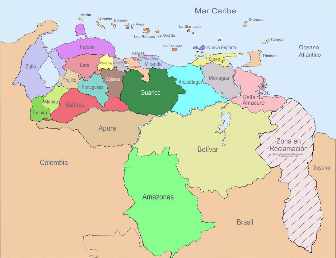 Large administrative divisions map of Venezuela
