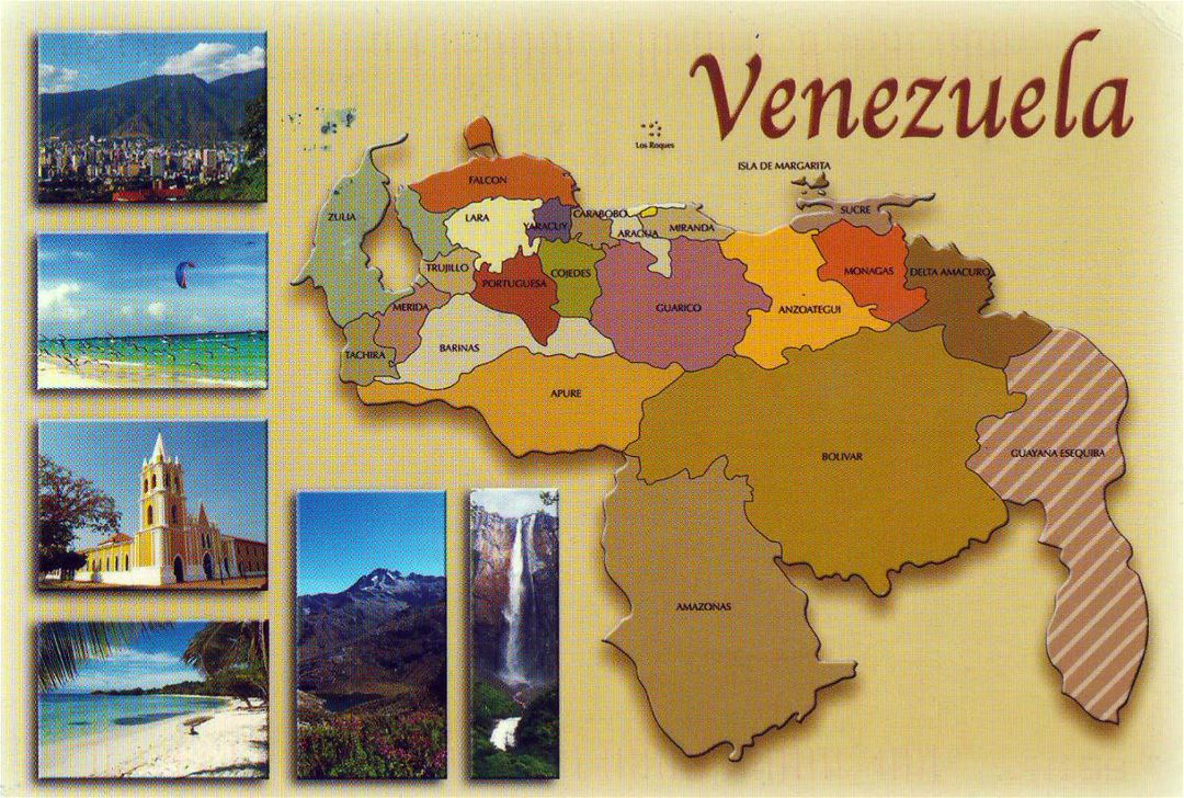 Large administrative map of Venezuela