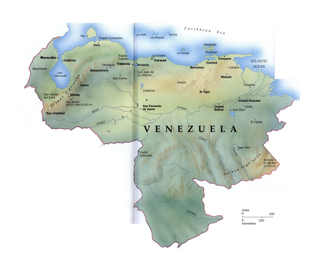 Large detailed map of Venezuela with relief and major cities