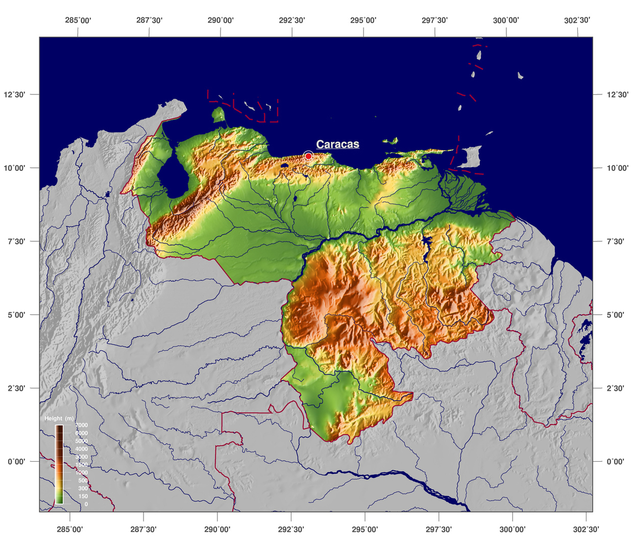 Large Detailed Physical Map Of Venezuela Venezuela South - Physical of map venezuela