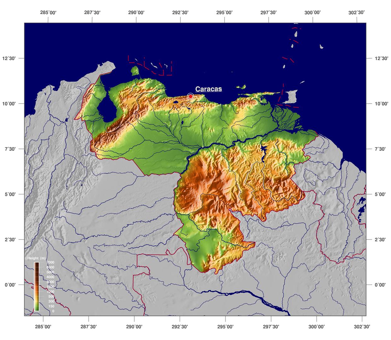 Large detailed physical map of Venezuela Venezuela South America