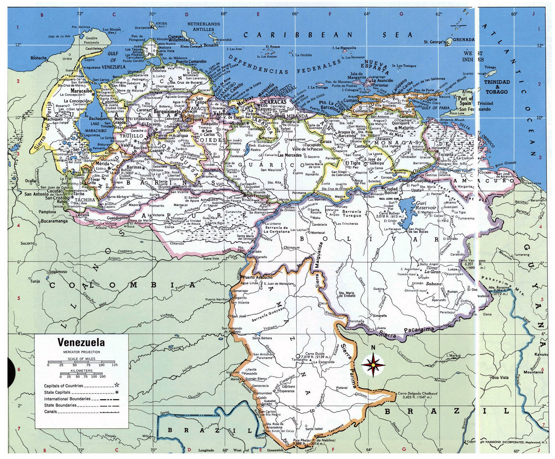 Large detailed political and administrative map of Venezuela with