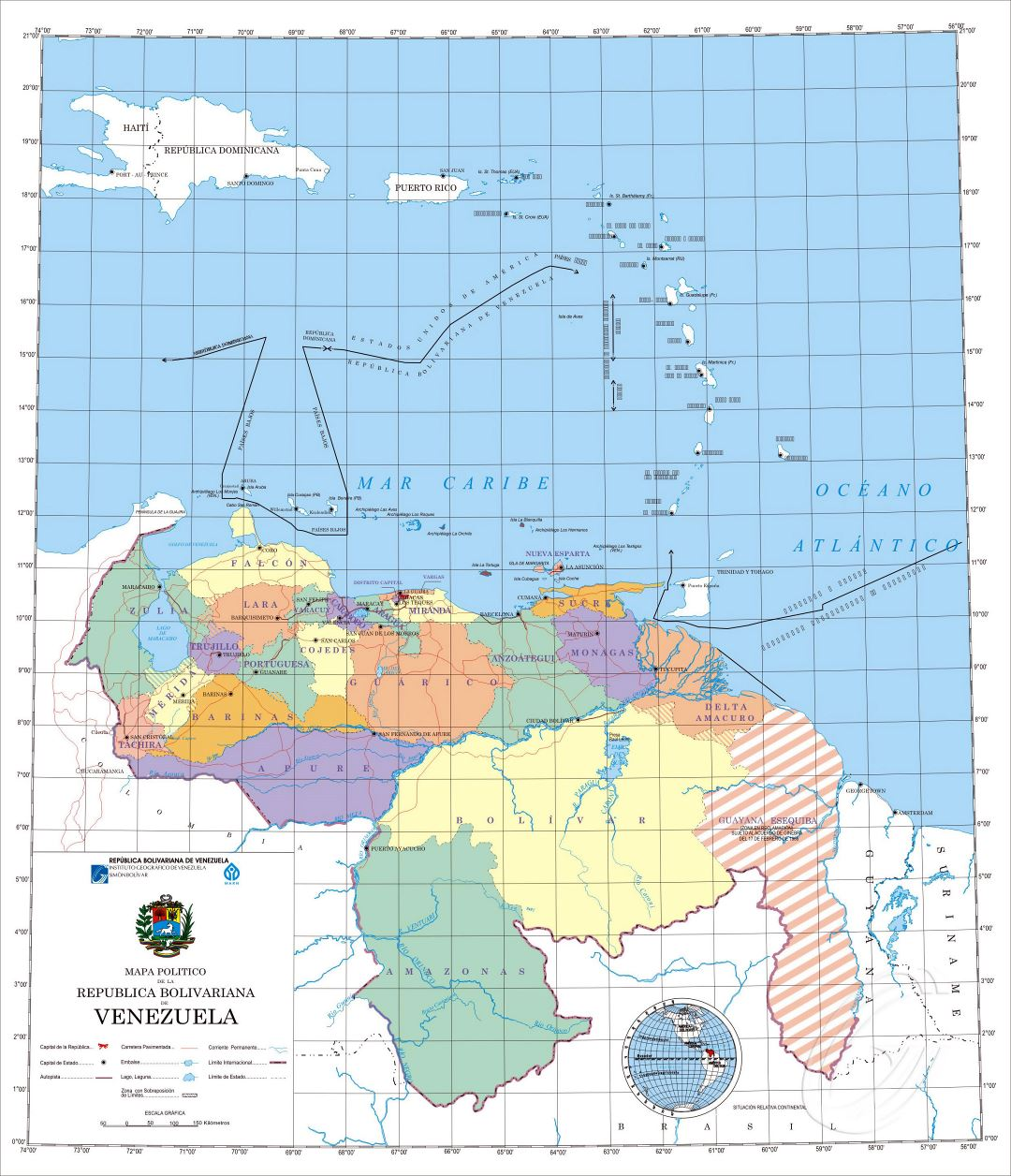 Large detailed political map of Venezuela with administrative divisions