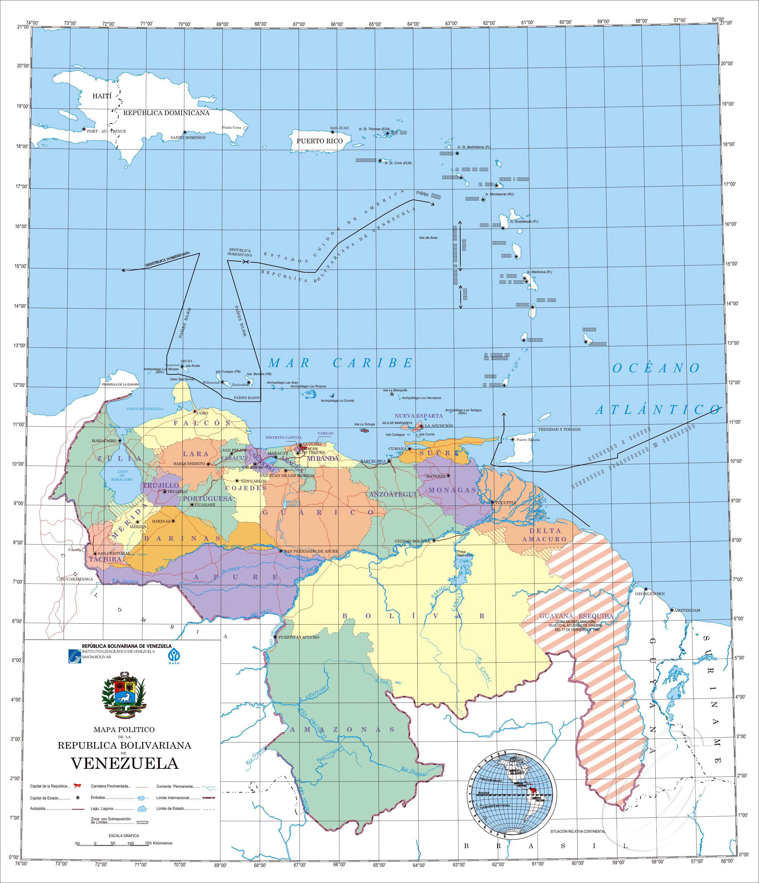 Large detailed political map of Venezuela with administrative