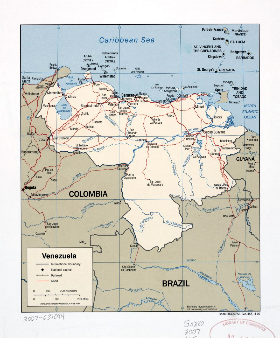 Large detailed political map of Venezuela with marks of roads, railroads and major cities - 2007