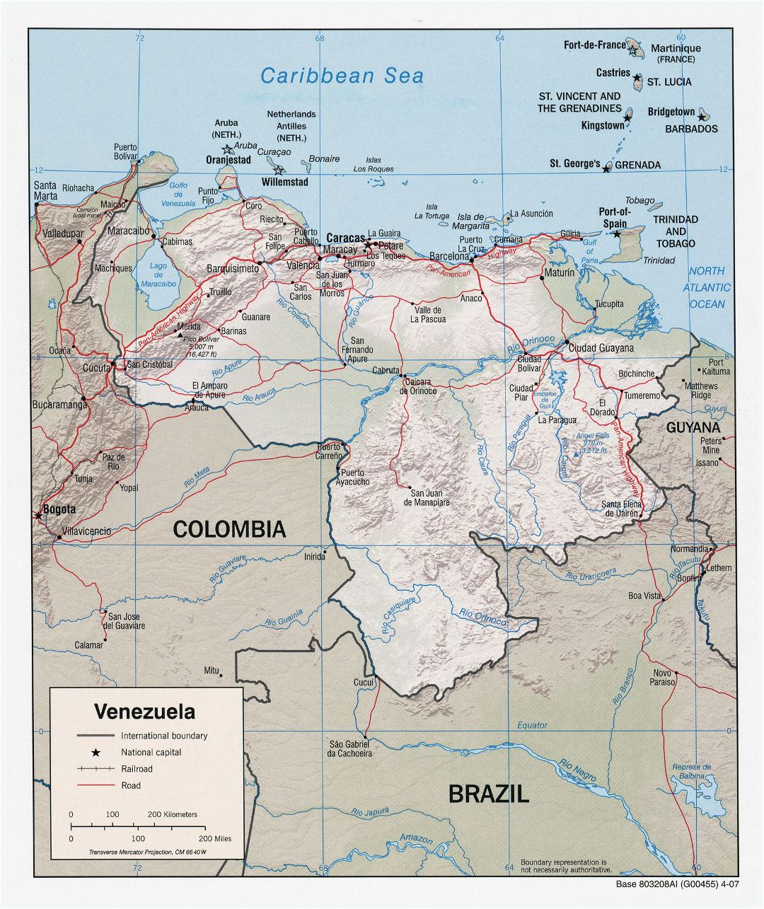 Large detailed political map of Venezuela with relief, roads and cities - 2007