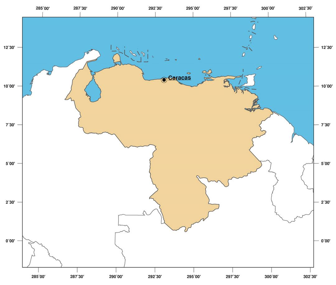 Large outline map of Venezuela