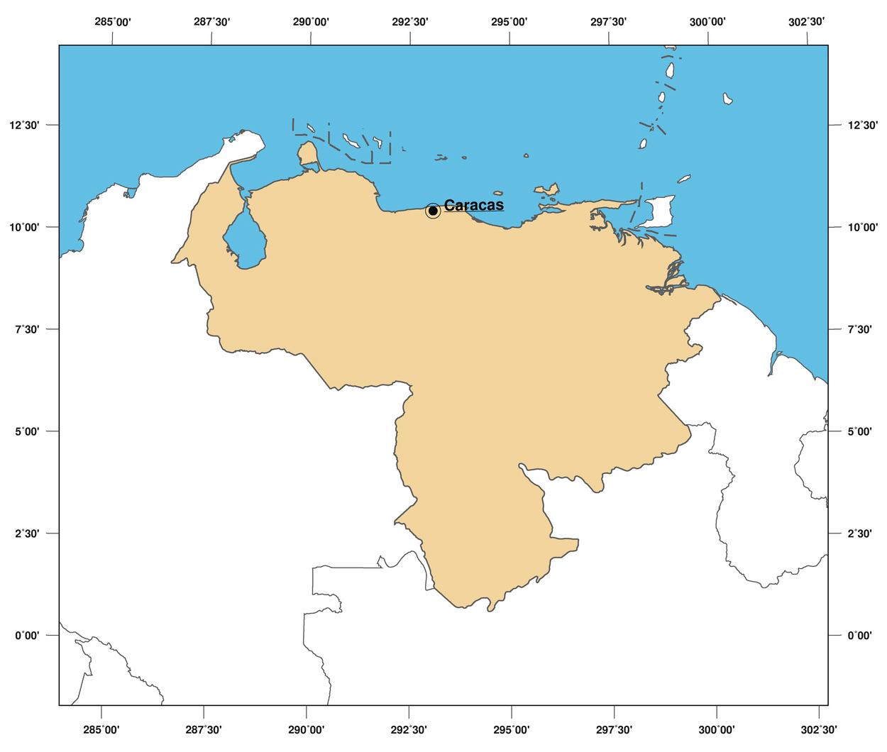 Large Outline Map Of Venezuela Venezuela South America - Map of venezuela world