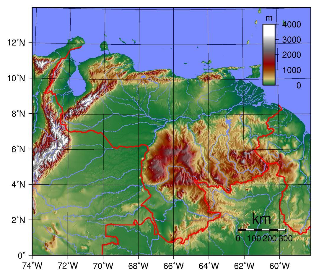 Large physical map of Venezuela Venezuela South America