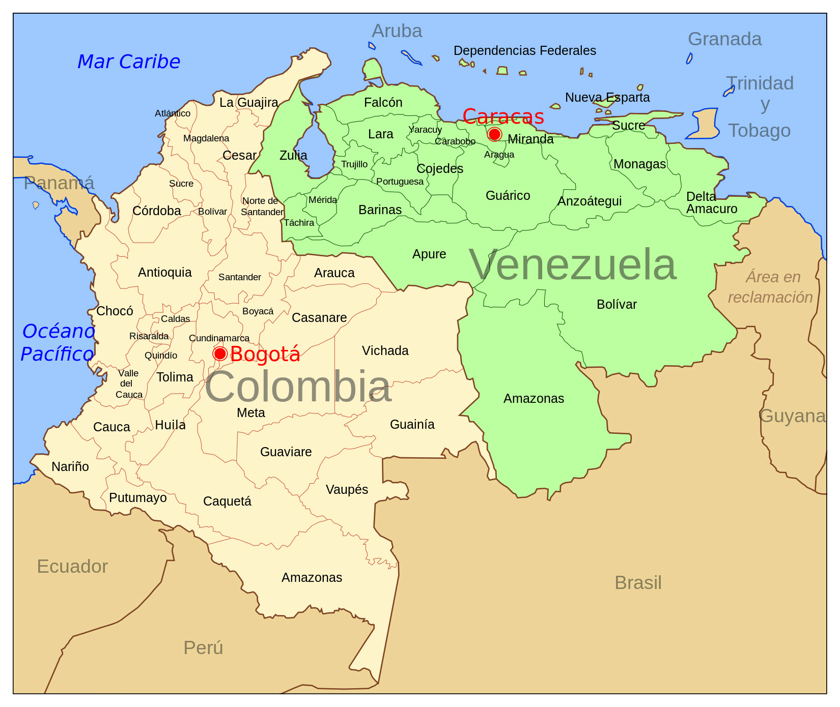 Large political and administrative map of Colombia and ...
