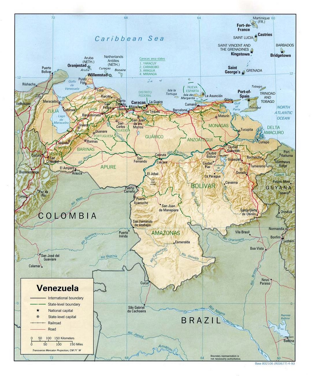 Large political and administrative map of Venezuela with relief, roads and cities - 1993