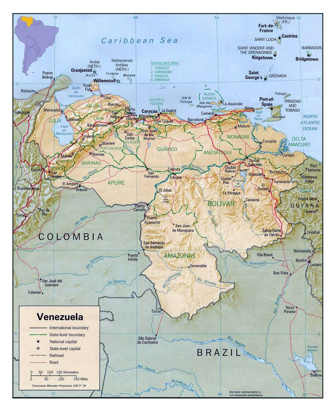 Large political and administrative map of Venezuela with relief, roads and cities