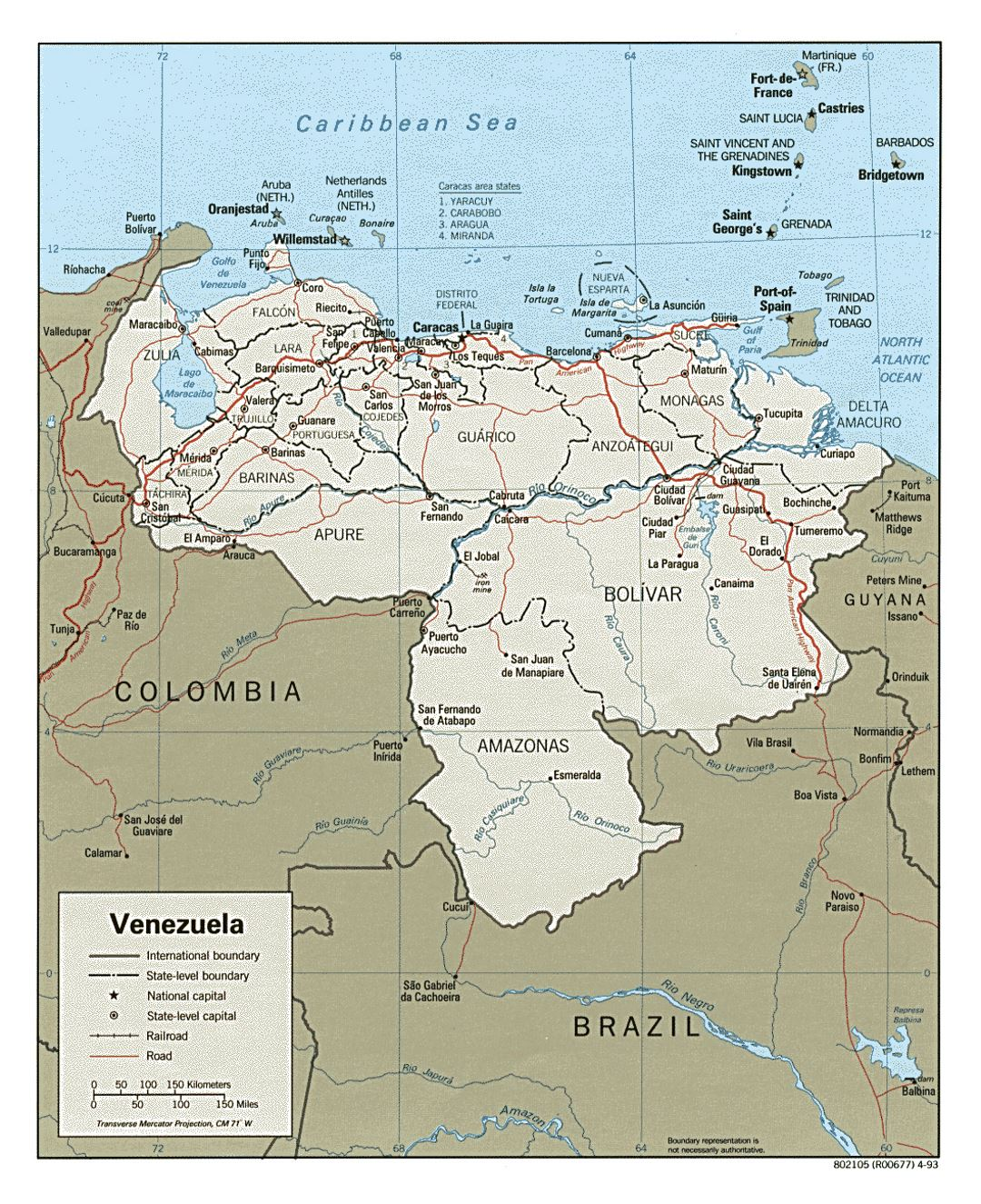 Large political and administrative map of Venezuela with roads and cities - 1993