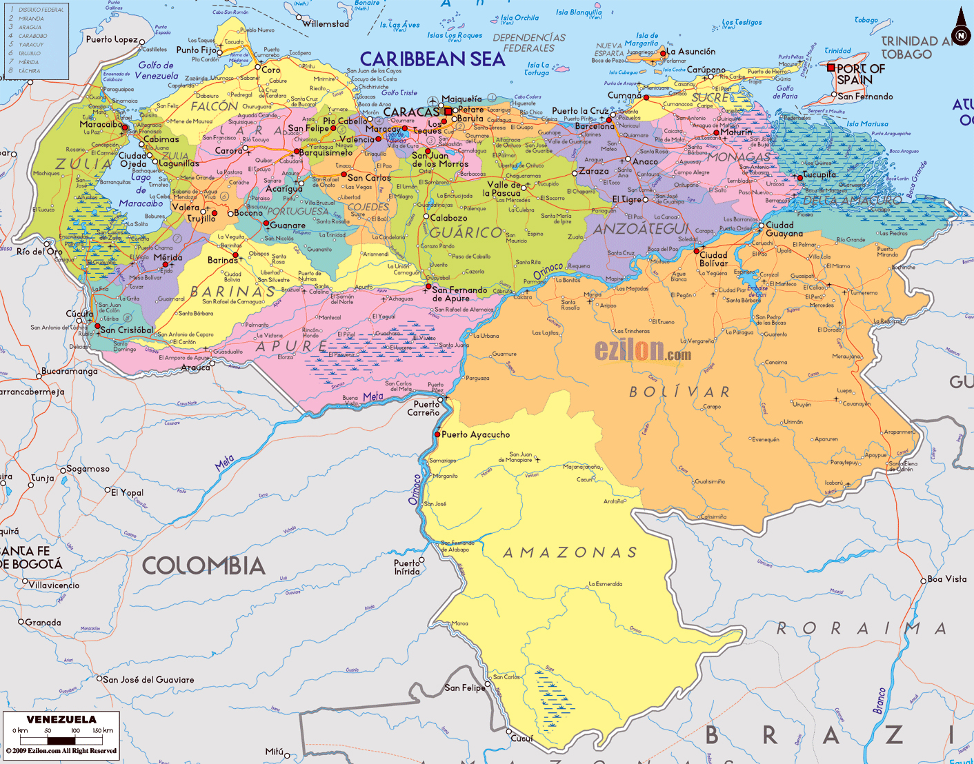 Large Political And Administrative Map Of Venezuela With Roads - Caracas on world map