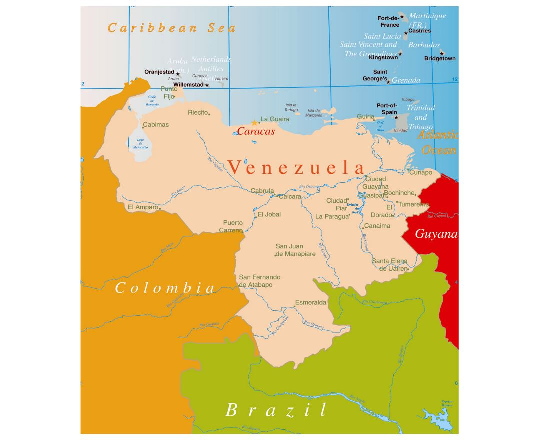 Maps of Venezuela  Detailed map of Venezuela in English  Tourist