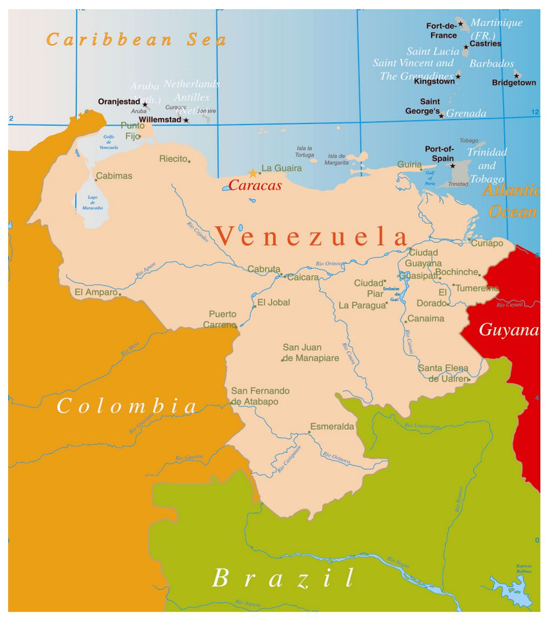 Large Political Map Of Venezuela With Major Cities Venezuela - Caracas on world map