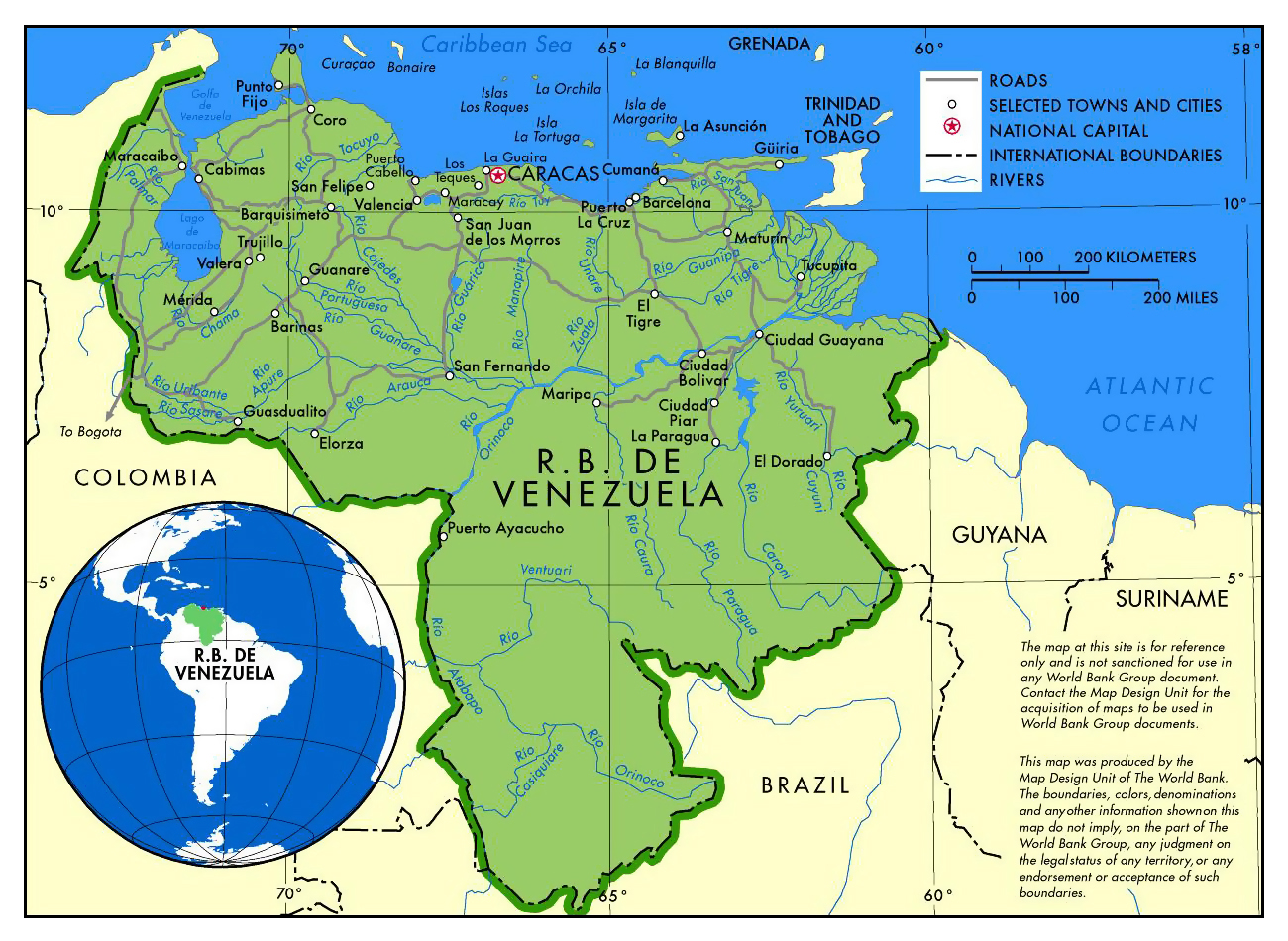 Large political map of Venezuela with roads and major cities ...