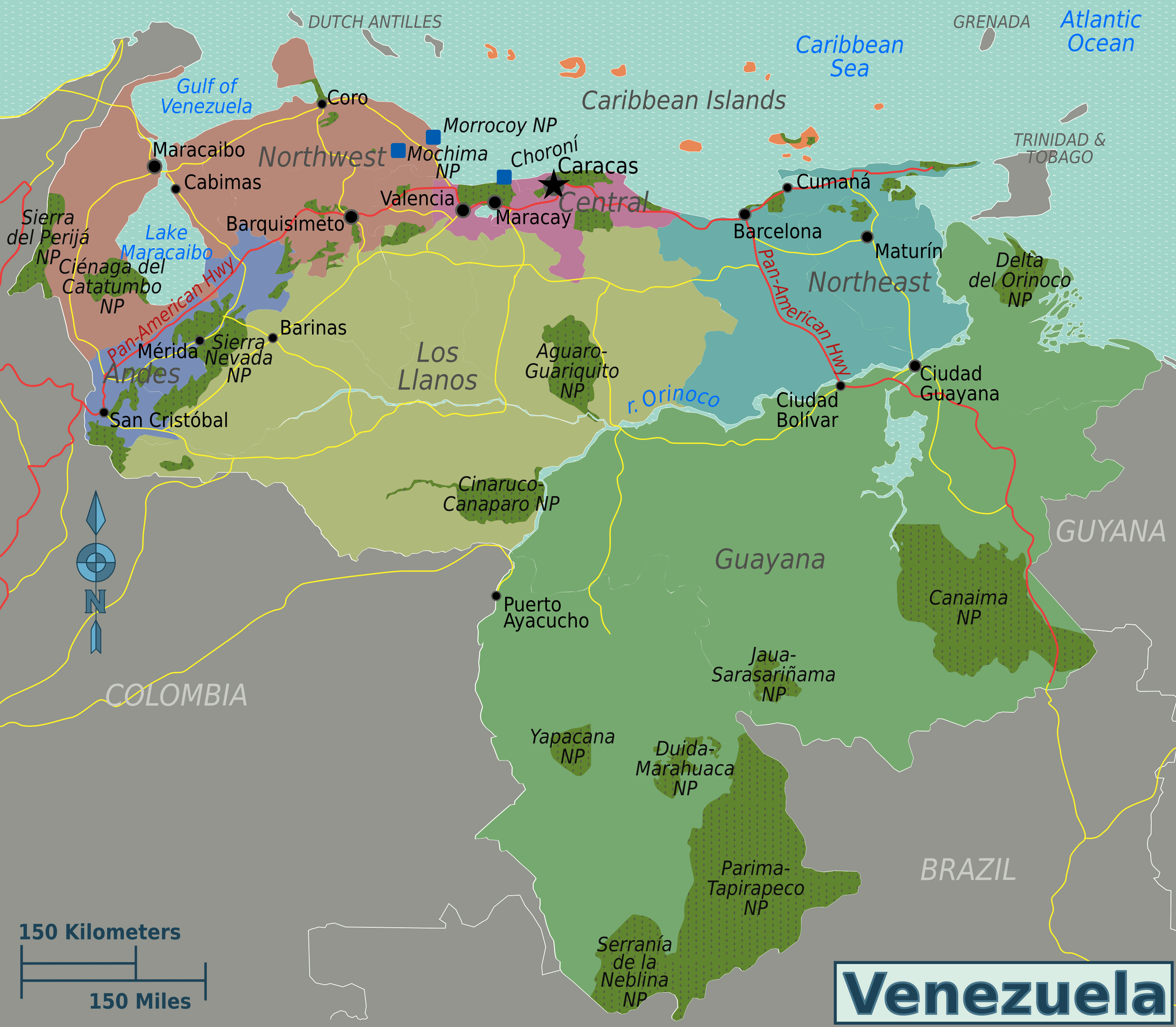 Large regions map of Venezuela Large regions