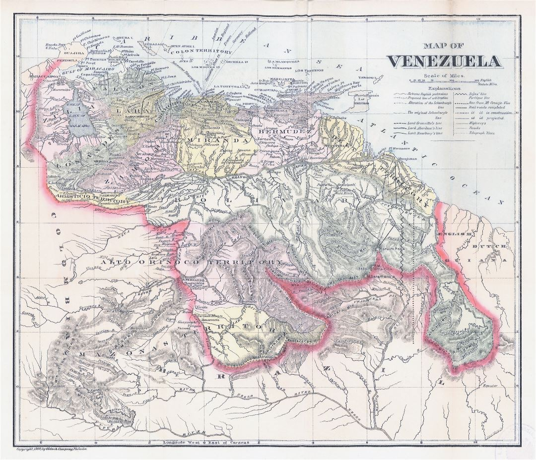 Large scale old political map of Venezuela with relief - 1900