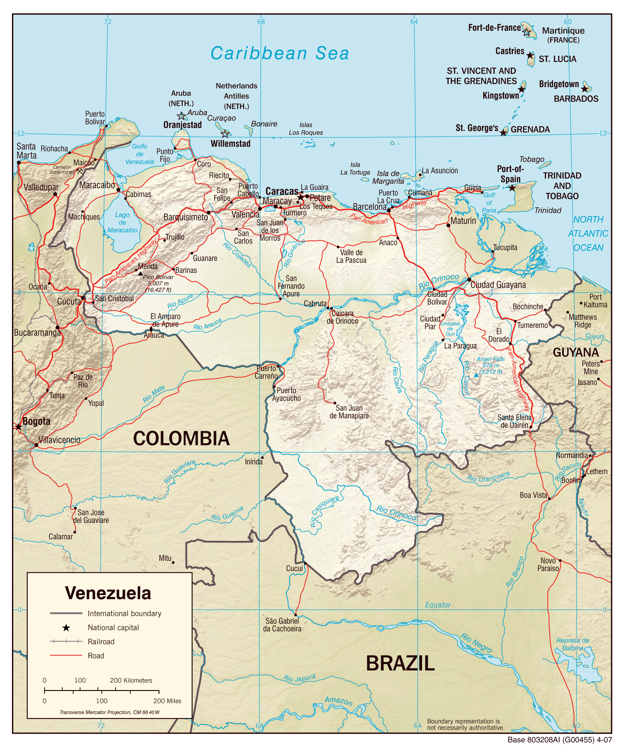 Large Scale Map Of France.Large Scale Political Map Of Venezuela With Relief Roads And Cities