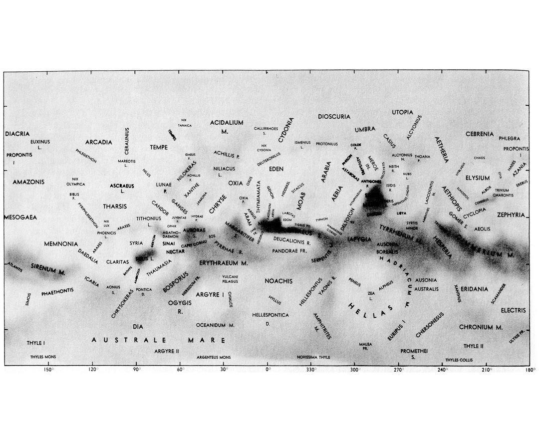 Detailed map of the surface of Mars - 1971
