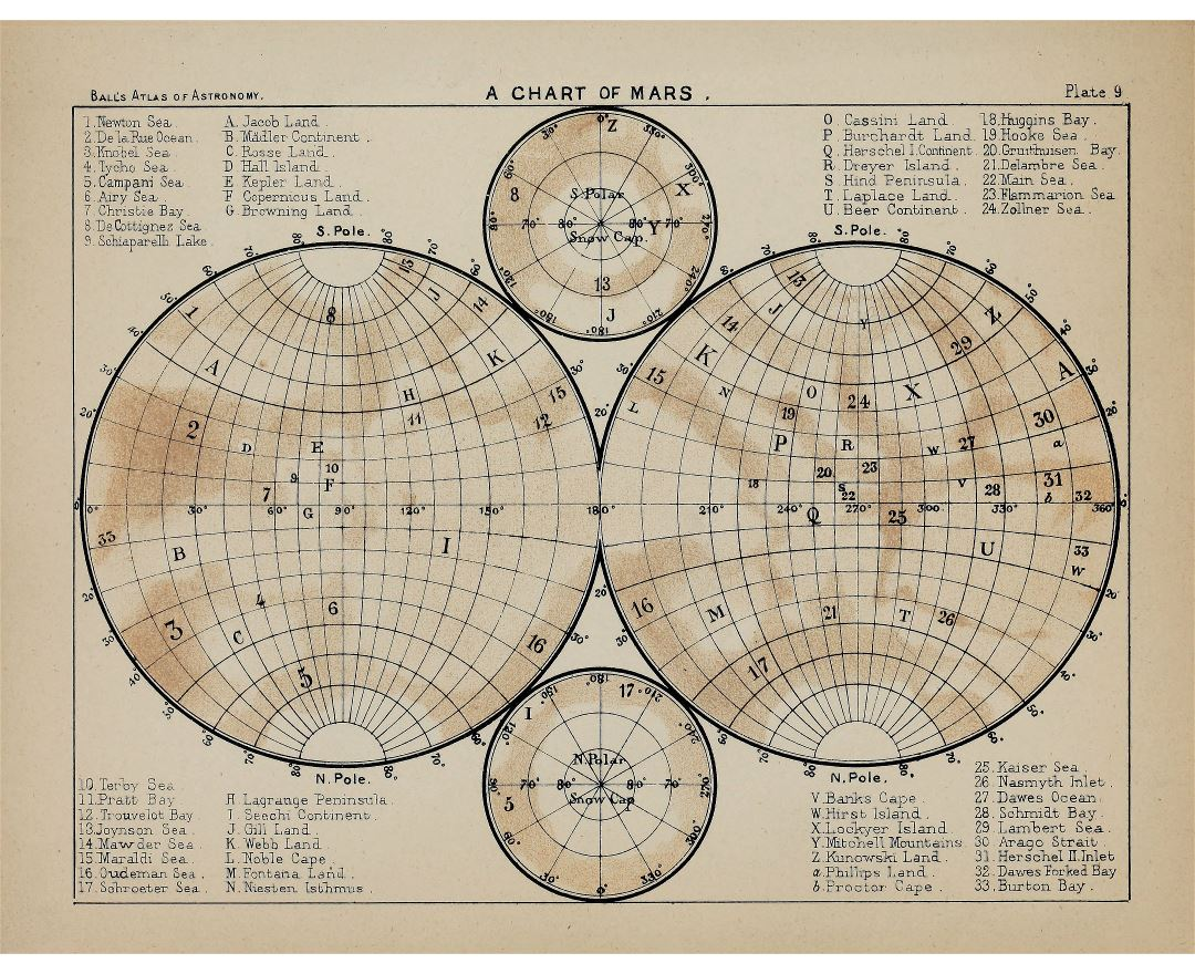 Detailed old map of Mars - 1892