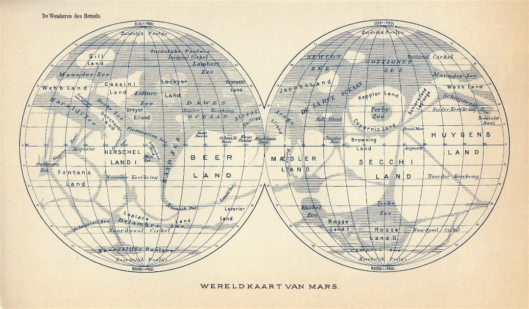 Detailed old map of Mars - 1898