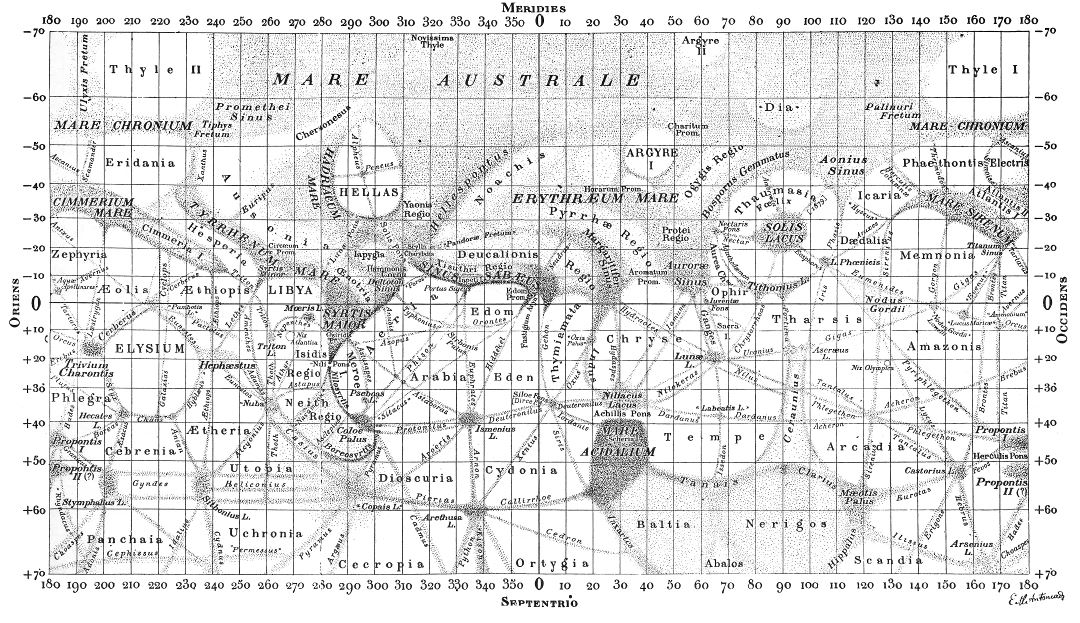 Detailed old map of the Mars surface - 1900