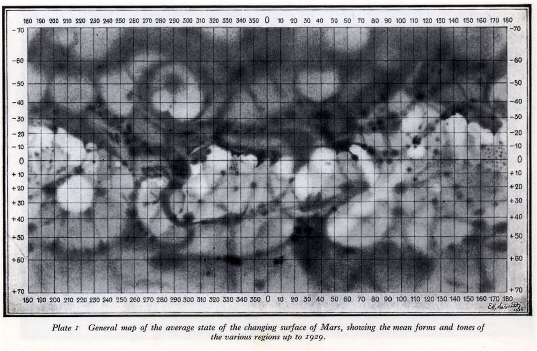 Detailed old map of the Mars surface - 1929