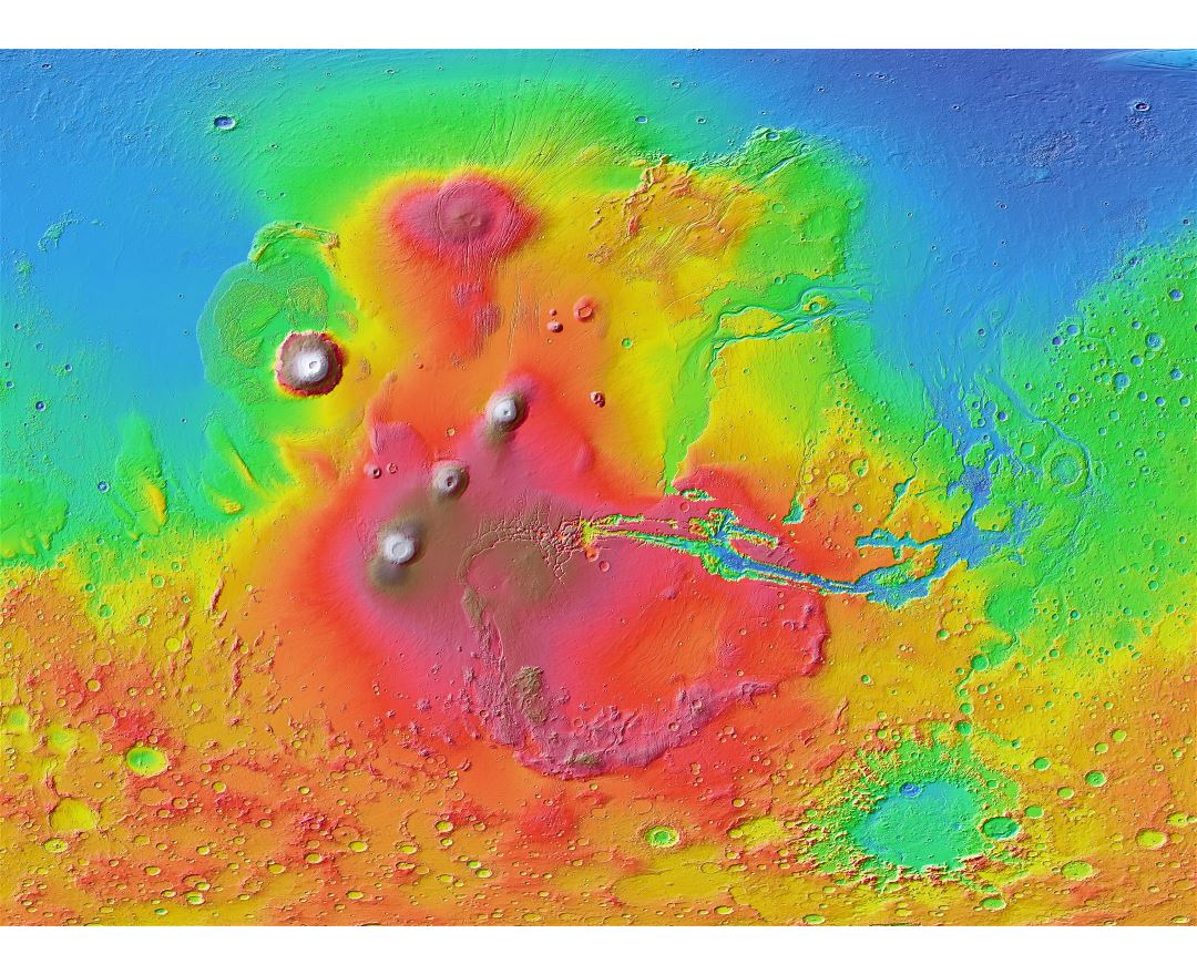 In high resolution detailed map of the Mars surface
