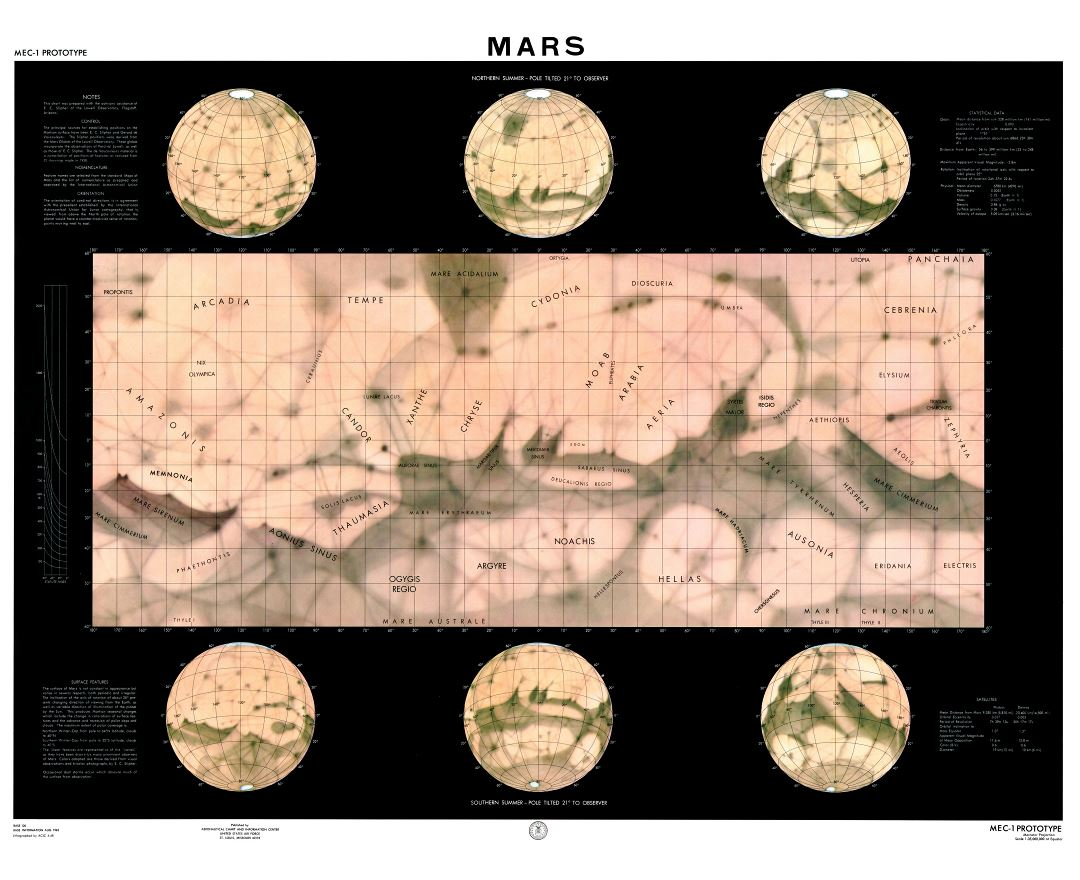 Large detailed map of the surface of Mars - 1962
