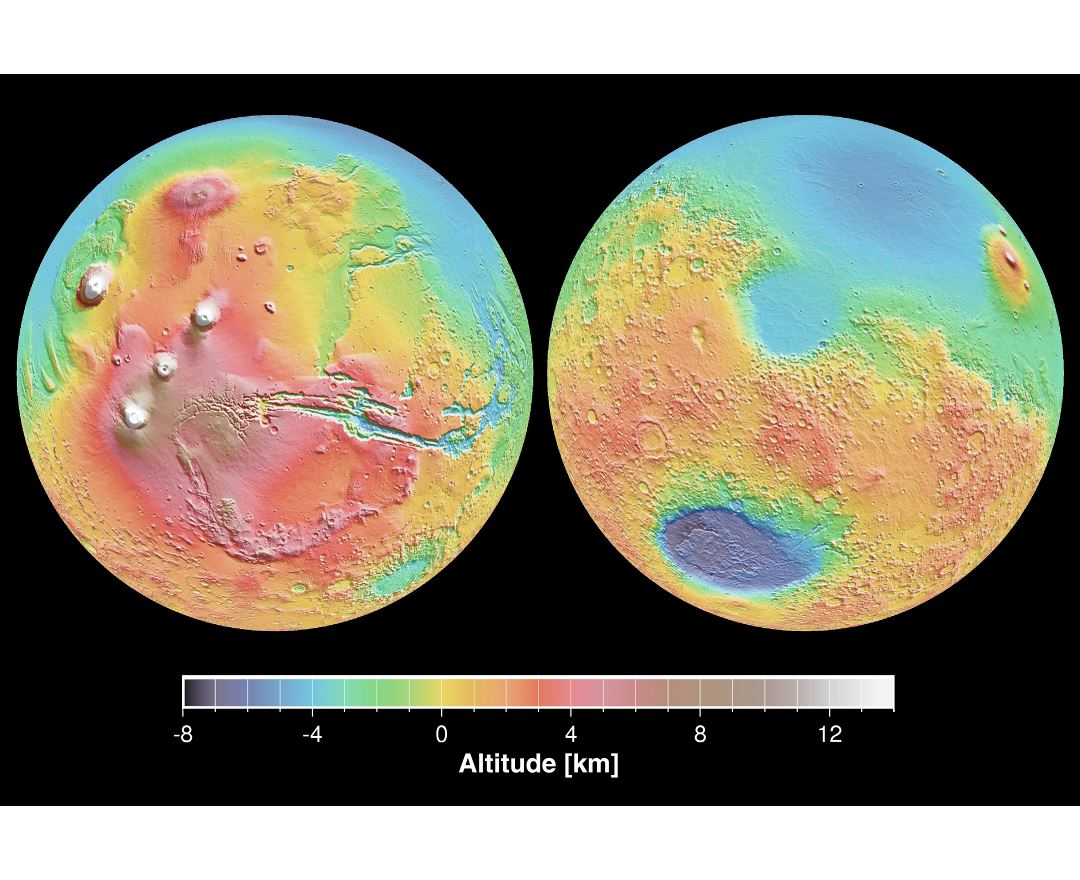 Large detailed map of the surface of Mars