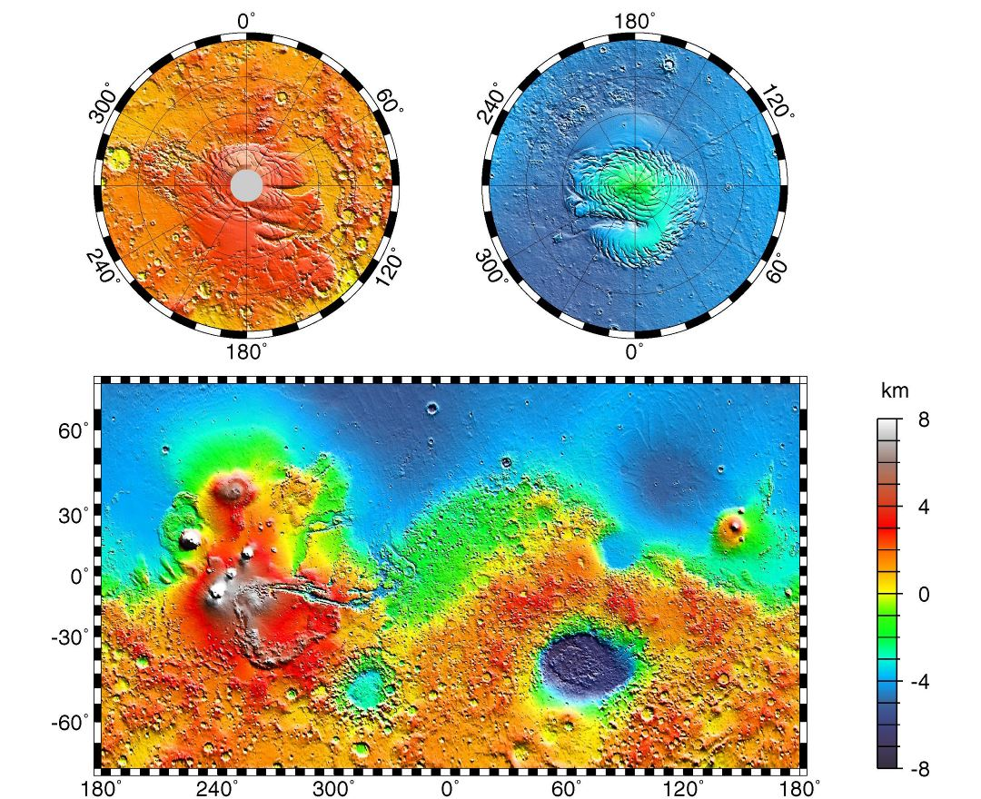 Large detailed topographic map of Mars