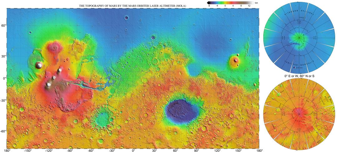 Large scale (hires) detailed topographic map of Mars