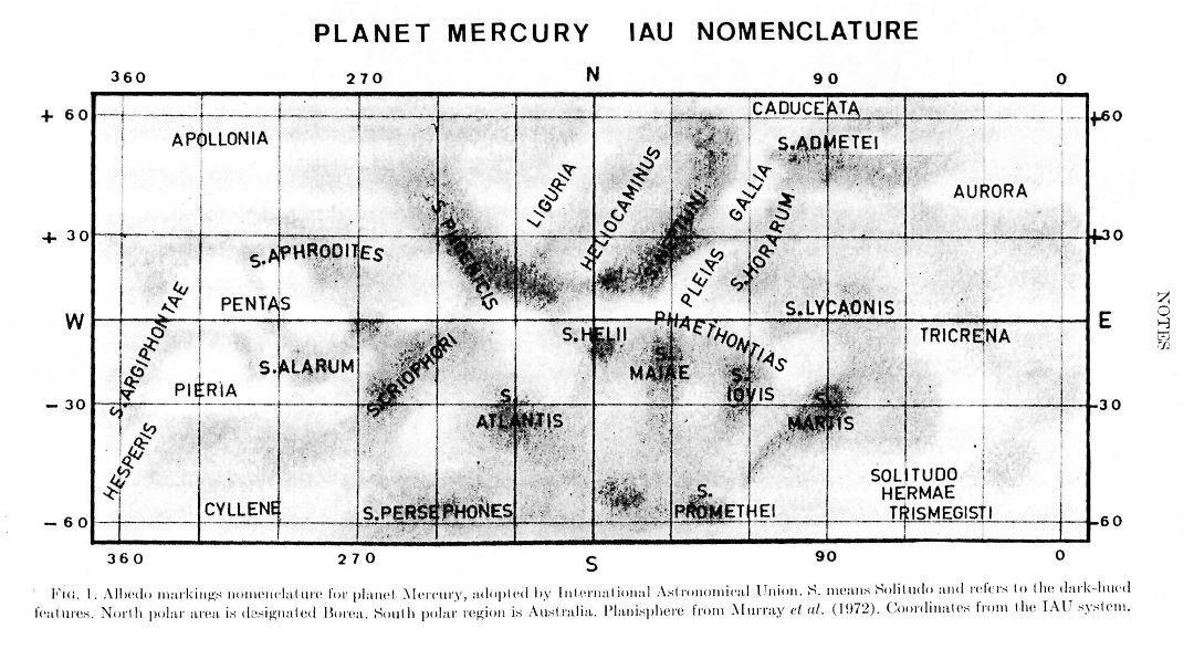 Detailed map of Mercury - 1978