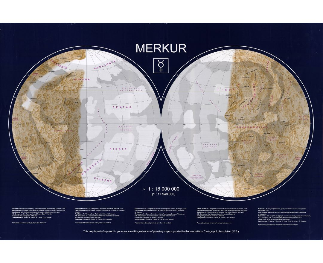 Large detailed topographic map of Mercury - 2002