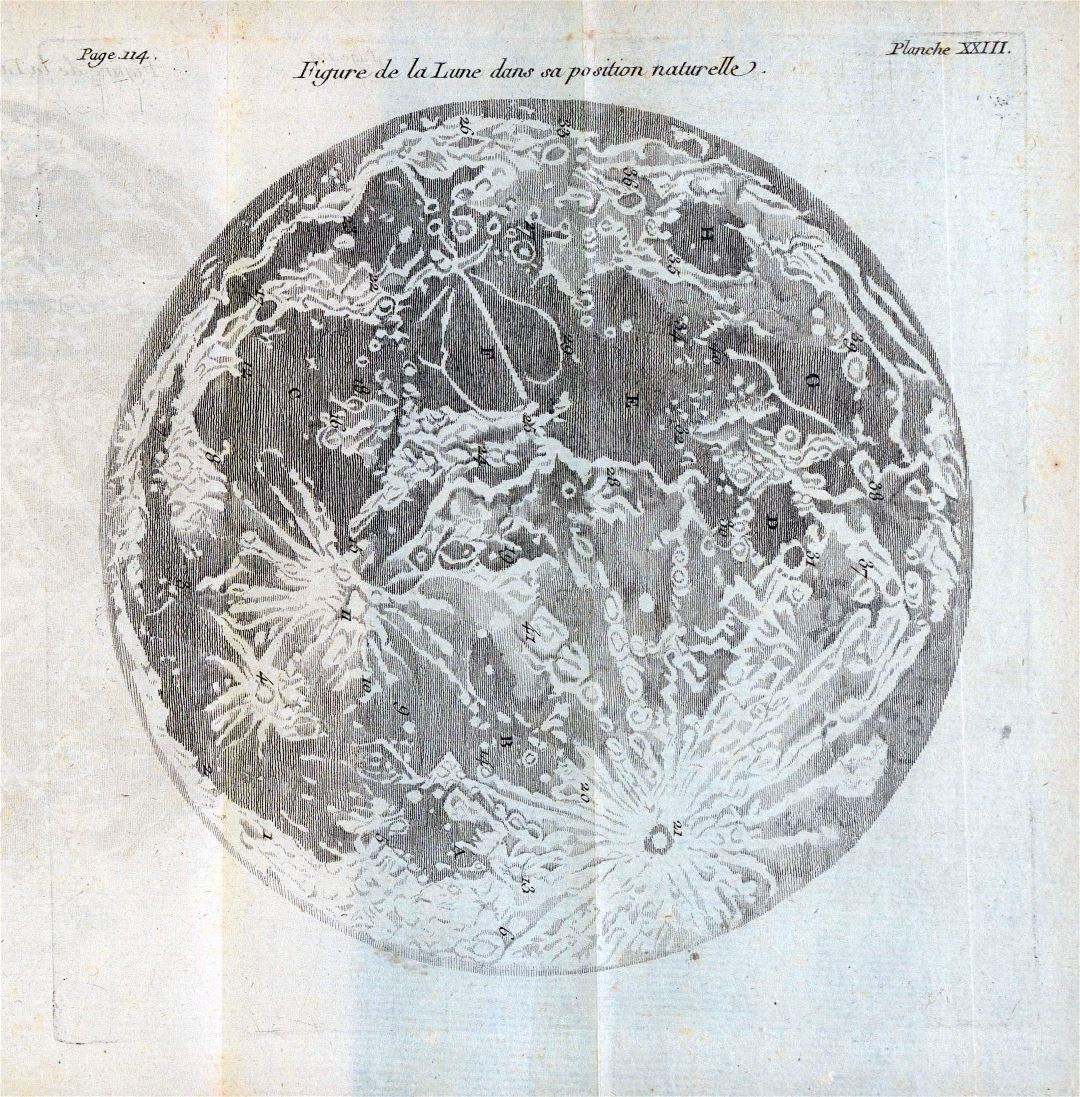 Detailed old map of the Moon - 1771