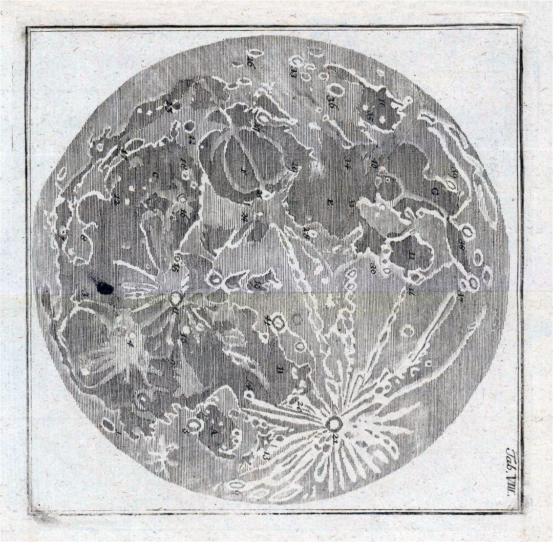 Detailed old map of the Moon - 1783