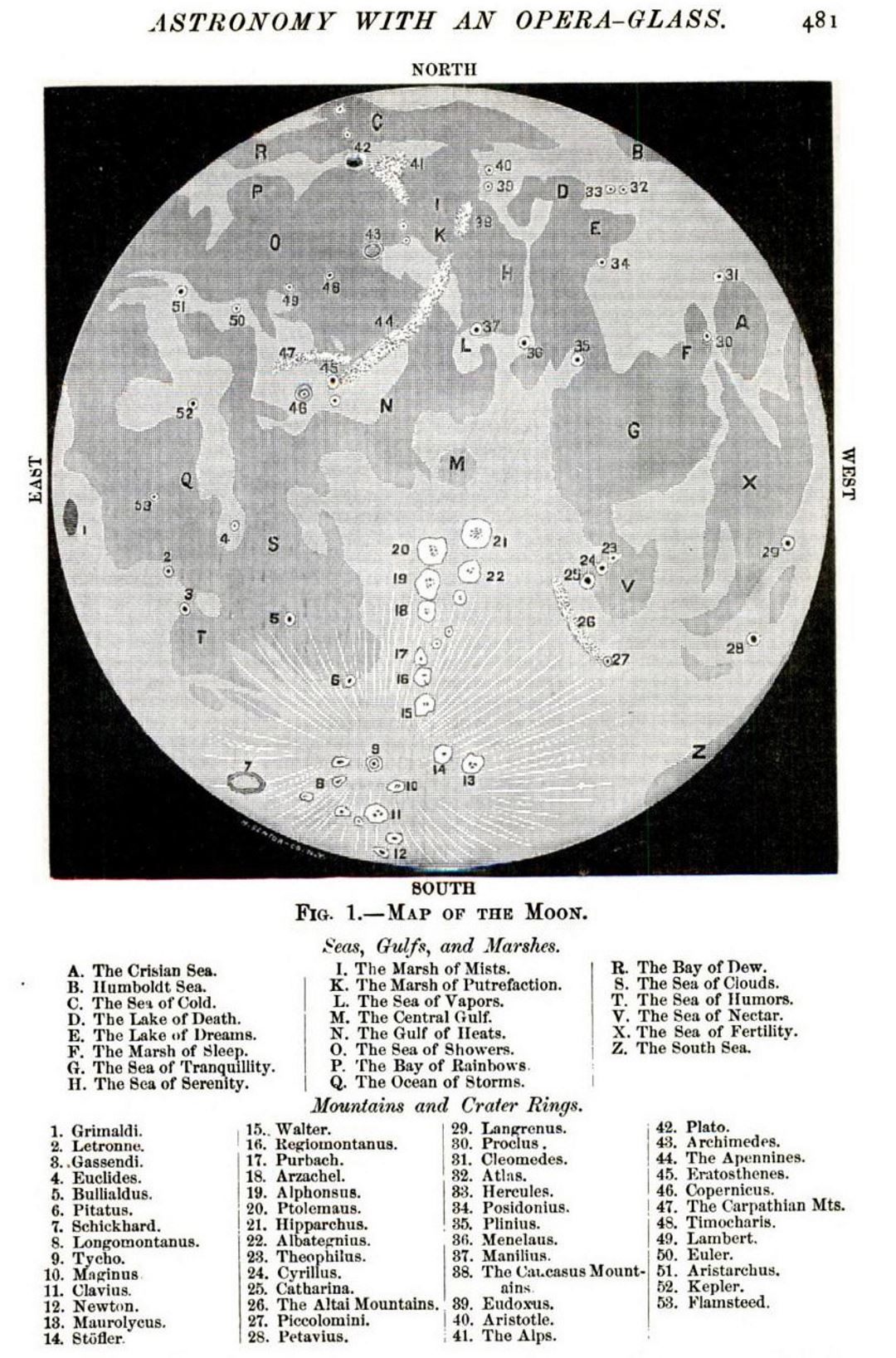 Detailed old map of the Moon - 1887